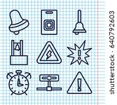 set of 9 alert outline icons... | Shutterstock .eps vector #640792603