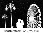 lovers in amusement park at... | Shutterstock .eps vector #640793413