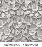 gray wooden pattern of flower... | Shutterstock . vector #640799293