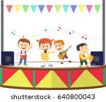 illustration of a happy kids... | Shutterstock . vector #640800043