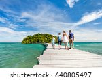 family walking on wooden... | Shutterstock . vector #640805497