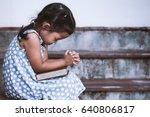cute asian little girl closed... | Shutterstock . vector #640806817