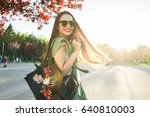 fashion woman in glasses on... | Shutterstock . vector #640810003