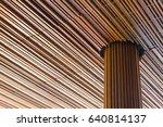 modern wooden with big pillar... | Shutterstock . vector #640814137