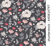 floral pattern in doodle style... | Shutterstock .eps vector #640814797