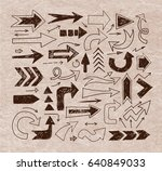 doodle sketch arrows on vintage ... | Shutterstock .eps vector #640849033