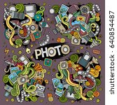 colorful vector hand drawn... | Shutterstock .eps vector #640854487