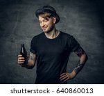 handsome bearded male with... | Shutterstock . vector #640860013