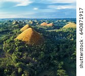aerial view of chocolate hills. ... | Shutterstock . vector #640871917