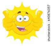 smiling yellow sun cartoon... | Shutterstock . vector #640876357