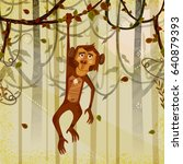 wild animal monkey in jungle... | Shutterstock .eps vector #640879393