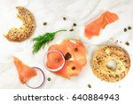 bagel ingredients. lox  purple... | Shutterstock . vector #640884943