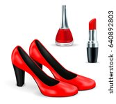 red shoes  red lipstick and... | Shutterstock .eps vector #640892803