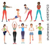 sport fitness healthy girls set.... | Shutterstock . vector #640892923