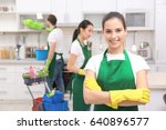 cleaning service team at work... | Shutterstock . vector #640896577