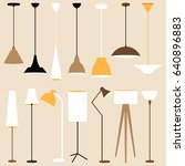 vector set of lamps. floor and... | Shutterstock .eps vector #640896883
