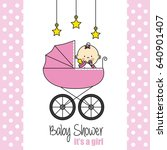 baby shower card. baby girl | Shutterstock .eps vector #640901407