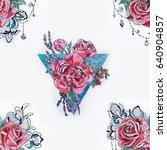 seamless pattern of beautiful...   Shutterstock . vector #640904857