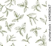 seamless pattern with green tea ... | Shutterstock .eps vector #640908367