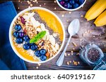 mango smoothies bowl with... | Shutterstock . vector #640919167