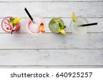 colorful cocktails close up top ... | Shutterstock . vector #640925257