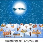 christmas night with santa and... | Shutterstock .eps vector #64093318