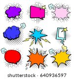 vector set colored comic book ... | Shutterstock .eps vector #640936597