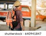 asia handsome man traveler with ... | Shutterstock . vector #640941847