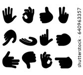 set of hand gestures on white... | Shutterstock .eps vector #640963357