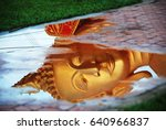 head of buddha reflected in to... | Shutterstock . vector #640966837