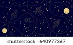 cosmic travels. seamless vector ... | Shutterstock .eps vector #640977367