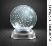 christmas snow globe isolated... | Shutterstock . vector #640981663