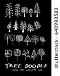 set of tree doodles vector on... | Shutterstock .eps vector #640983583