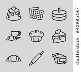 pastry icons set. set of 9... | Shutterstock .eps vector #640985167