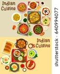 indian cuisine healthy dinner... | Shutterstock .eps vector #640994077