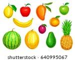 fruit watercolor illustration... | Shutterstock .eps vector #640995067