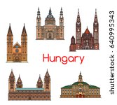 tourist sight of hungary thin... | Shutterstock .eps vector #640995343