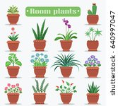 room plants in clay pots vector ... | Shutterstock .eps vector #640997047