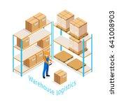 warehouse logistics isometric... | Shutterstock .eps vector #641008903