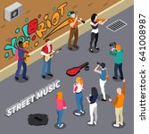 street musicians playing on... | Shutterstock .eps vector #641008987