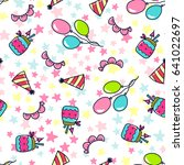 doodles cute seamless pattern.... | Shutterstock .eps vector #641022697