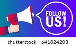 follow us. badge with megaphone ... | Shutterstock .eps vector #641024203