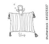 beautiful pillow and cute... | Shutterstock .eps vector #641025337