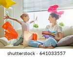 beautiful young woman and child ... | Shutterstock . vector #641033557