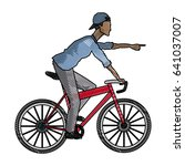 drawing young afro guy rider...   Shutterstock .eps vector #641037007
