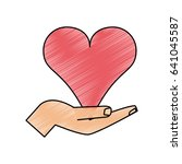 color pencil image hand holding ... | Shutterstock .eps vector #641045587