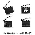 realistic clapper.cinema.board... | Shutterstock .eps vector #641057617
