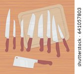 set of nine kitchen knives ... | Shutterstock .eps vector #641057803