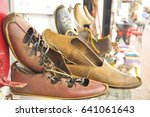 pair of leather shoes brown... | Shutterstock . vector #641061643