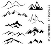 mountain icon set black and... | Shutterstock .eps vector #641064133